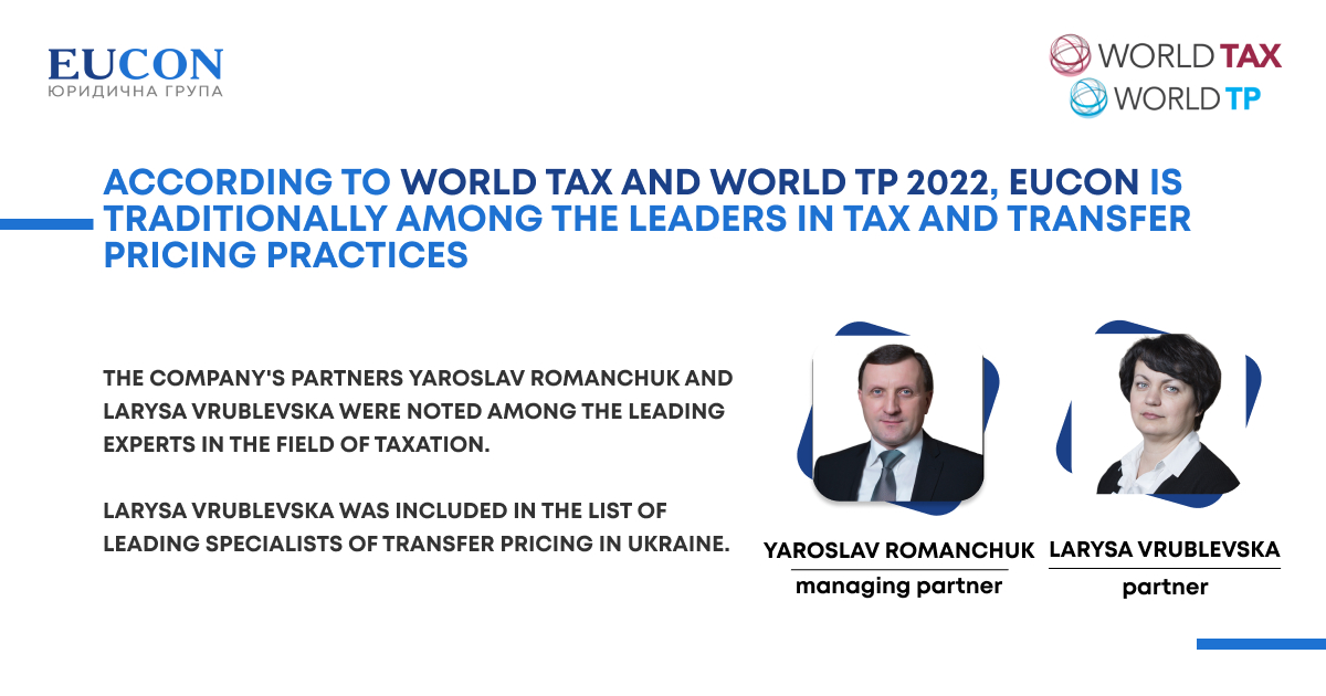 According to World Tax and World TP 2022, EUCON is traditionally among the leaders in tax and transfer pricing practices